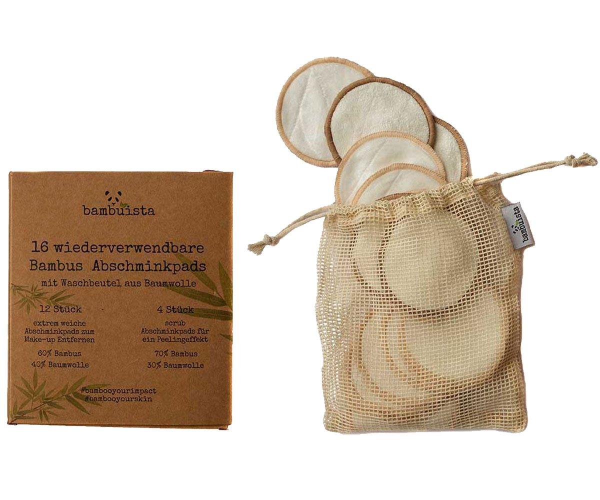 16 waschbare & wiederverwendbare Abschminkpads mit Waschbeutel