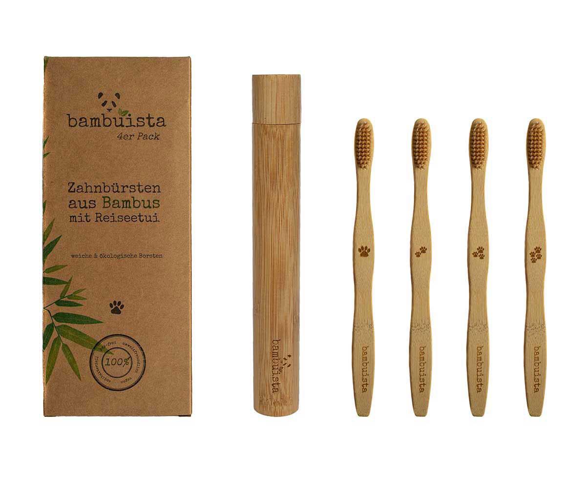 4er Pack ökologische Zahnbürsten für Erwachsene mit Reise-etui