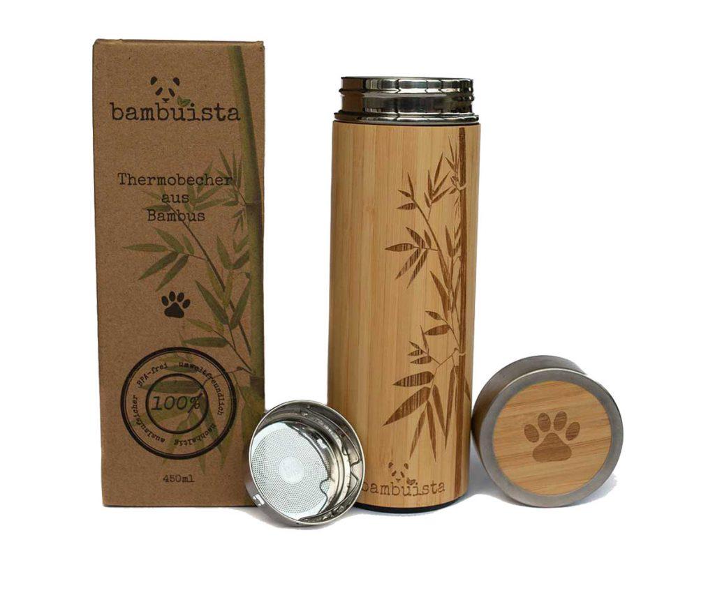 Bambus Thermobecher mit Teesieb
