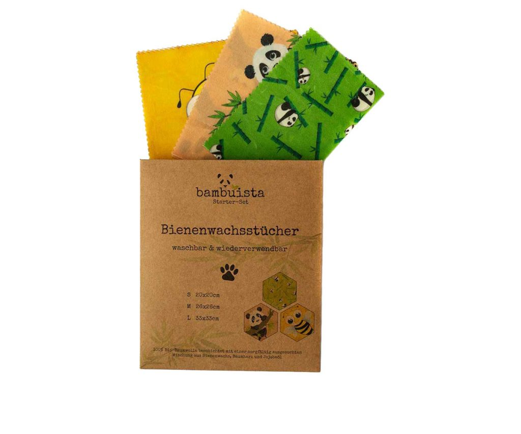 Bienenwachstücher, nachhaltige Alternative zur Frischhaltefolie- 3 Größen